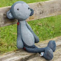 Denim blue toy Monkey or ape Martysh. Adorable friendly denim stuffed toy monkey is great gift for teens, children or funny adults! Height with legs - 58cm. Height in sitting position - 35cm. 280SEK / 33$