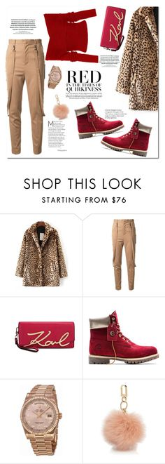 """Red in the Times..."" by fancy-chic ❤ liked on Polyvore featuring WithChic, G.V.G.V., Karl Lagerfeld, Timberland, Rolex and Tory Burch"