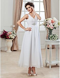 A-Line Princess V-neck Ankle Length Chiffon Wedding Dress with Beading Ruche Side-Draped by LAN TING BRIDE®