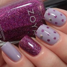 Lilac base with Zoya Nova (magenta jelly with pink  silver glitter) dots and accent nail.  |  20  Best Nail Art Ideas