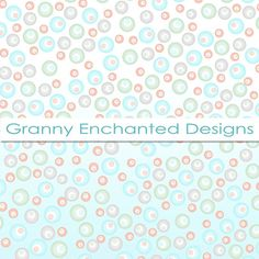 12 Digital Papers Teal Gray Pink and Green by GrannyEnchanted