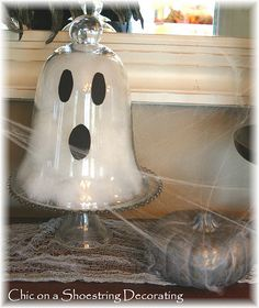 cloche ghost use cotton and construction paper