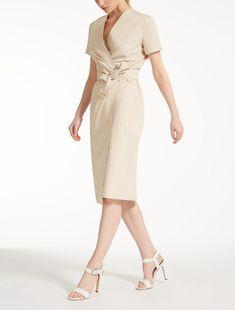 Max Mara DALMINE sand: Cotton poplin dress.
