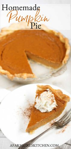 Homemade Pumpkin Pie is made with canned pumpkin, evaporated milk, eggs, maple sugar, and cinnamon, and spices makes the perfect Thanksgiving dessert. This is the BEST pumpkin pie recipe! Use homemade or store-bought pie crust. #pumpkin #pumpkinpie #pierecipes #piecrust #pie #pumpkinspice #Thanksgivingrecipes #recipe