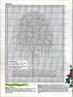Crochet and arts: Cortinas Filet Crochet Charts, Crochet Diagram, Crochet Stitches Patterns, Knitting Charts, Cross Stitch Patterns, Crochet Tree, Crochet Cross, Thread Crochet, Cross Stitch Tree