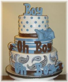 Baby Shower Ideas For Boys | Cute Boy Baby Shower Cakes! How to ideas, decorating tips and more!