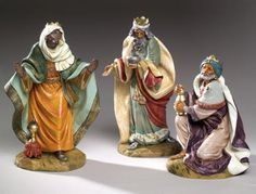 """Fontanini Three Kings 18"""" scale Masterpiece Collection $899.00 The Three Kings for the 18"""" scale Fontanini Masterpiece Collection. The figures are suitable for indoor and outdoor display. Additional 18"""" figures are available. Shipping to USA and Canada only."""