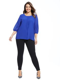Pleat Front Blouse In Mazarine Blue by @modamixfashion  Available in sizes 14W-24W
