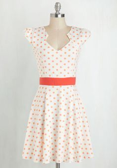The Story of Citrus Dress in Orange. It was as if fate knew that you'd been looking for that perfect frock to add some serious style to your wardrobe. #white #modcloth
