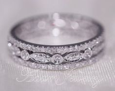 Discount! 3 Full Eternity Bands 1.1mm 14k White Gold Diamonds Wedding Band & Art Deco Antique Ring Engagement Ring/ Anniversary Ring