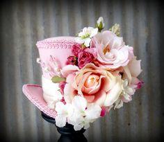 Pink Linen Rose, Flower Explosion Mini Top Hat, Mad hatter Hat, Alice in Wonderland, Tea Party Hat,Mad Hatter Hat,Steampunk, Kentucky Derby