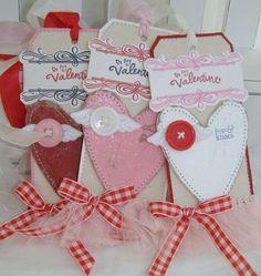 Valentine Glitter Heart Shabby Handmade Gift Tags by PaperBistro, $7.95