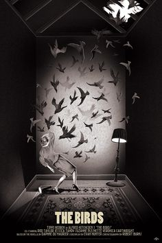 """The Birds by Adam Simpson. 24""""x36"""" screen print. Hand numbered. Edition of 250. Printed by D&L Screenprinting."""
