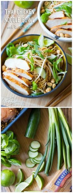 Fresh and vibrant Thai Chicken Noodle Bowl with Peanut Sauce! Loaded with veggies, and kissed with peanut sauce, these noodle bowls make a marvelous dinner Thai Chicken Noodles, Rice Noodles, Zucchini Noodles, I Love Food, Good Food, Bo Bun, Asian Recipes, Healthy Recipes, Asian Cooking