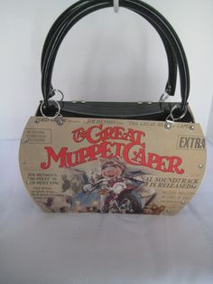 The Great Muppet Caper Jim Henson Miss Piggy Vintage Vinyl Record Tote Purse  Shoulder Bag Soundtrack Movie Handmade Recycled 7ddfb14e930da
