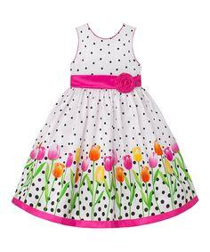 White & Hot Pink Floral A-Line Dress - Infant Toddler & Girls