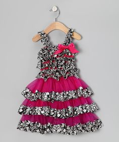Take a look at this Head over Heels Black  Hot Pink Damask Ruffle Dress - Infant  Toddler on zulily today!