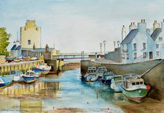 Ink and watercolour painting by Dai Wynn of Castletown Harbour on the Isle of Man in the Irish Sea.  Painted on 300 gsm medium surface texture Arches cotton paper.  29.5 cm high by 42 cm wide by 0.1 cm deep approximately - A3 standard size.