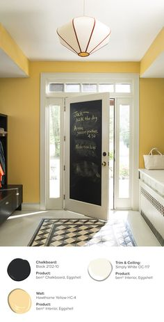 Leave helpful reminders for your family and self on a door painted with ben® Chalkboard paint. Ensuring no message goes unread on your way out the door. Available in any color to match your décor. Chalkboard: Black 2132-10, ben® Chalkboard, Eggshell // Wall: Hawthorne Yellow HC-4, ben® Interior, Eggshell // Trim & Ceiling: Simply White OC-117, ben® Interior, Eggshell.