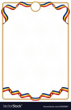 Frame and border of romania colors flag vector image on VectorStock