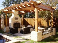 Home landscaping ideas designing backyard patio tips for small outdoor living room ideas with installing pergola and stone fireplace surround Modern Outdoor Living, Outdoor Living Rooms, Outside Living, Living Spaces, Outdoor Spaces, Modern Living, Backyard Patio, Backyard Landscaping, Landscaping Ideas
