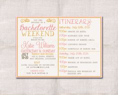 Bachelorette Party Weekend invitation and itinerary