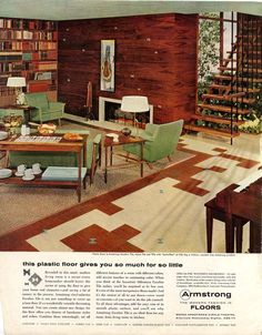 Home Interior Company Armstrong Tile - excellent.I work for Armstrong!Home Interior Company Armstrong Tile - excellent.I work for Armstrong! Mid Century Living Room, Mid Century Decor, Mid Century House, Retro Living Rooms, Living Vintage, 1950s Living Room, 70s Decor, Retro Home Decor, Mid-century Interior