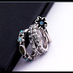 Boho Tibetan Silver 4 Ring Set Darling Bohemian Silver Alloy & Turquoise 4 Set ring. Perfect for layering. Get that Free People/Child of Wild Look. Sizes are 6.5 - 7. Free People Jewelry Rings