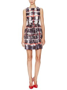 Graphic Plaid Gathered Waist Dress