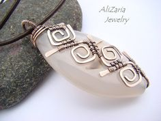 White Agate Pendant - Copper Wire - Geometric Pattern - Wire Wrapped