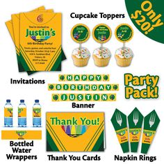 Items similar to Printable Crayon Fun Birthday Party Pack on Etsy Crayon Birthday Parties, Kids Birthday Themes, First Birthday Parties, Boy Birthday, Art Themed Party, Art Party, Crayon Decorations, Play Doh Party, Crayola
