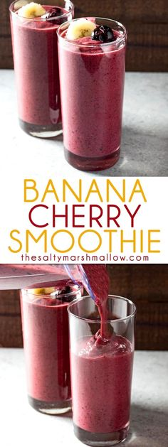 Banana Cherry Smoothie - A favorite healthy smoothie recipe. Banana Cherry Smoothie - A favorite healthy smoothie recipe thats perfect for breakfast lunch or just a healthy snack. My kids love to make this easy fruit smoothie with me! Smoothie Fruit, Cherry Smoothie, Healthy Fruit Smoothies, Smoothie Recipes For Kids, Healthy Juices, Smoothie Drinks, Healthy Fruits, Healthy Snacks For Kids, Desert Recipes