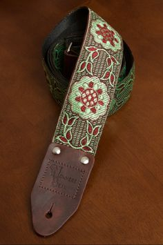 Green/Maroon Vintagestyled Guitar Strap by nowherebearstraps, $55.00