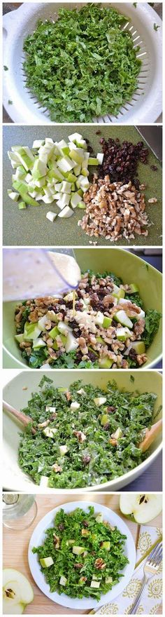 Nutty apple salad - ⅓ cup olive oil ¼ cup apple cider vinegar 1 clove garlic 1½ Tbsp dijon mustard ¼ tsp salt 10-15 cranks fresh cracked pepper 1 bunch kale 1 medium granny smith apple ¼ cup raisins ½ cup walnut halves