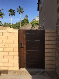 Custom Wood Gate by Garden Passages - Horizontal Slatted Side Gate Fence Gate Design, Modern Fence Design, Fence Gates, Front Gate Design, Side Gates, Fence Doors, Front Gates, Entry Gates, Eclectic Doors