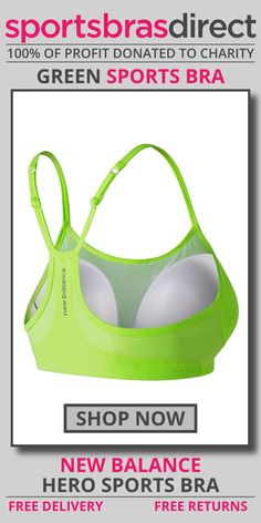 Bring it on in this playful bra for high impact sports. The pullover racerback style with slender adjustable straps adds a stylish flair under your running tank. The Hero Green Sports Bra by New Balance offers support in a simple, flattering silhouette. Shop now! #bra #sportsbra #green #greenbra #greensportsbra