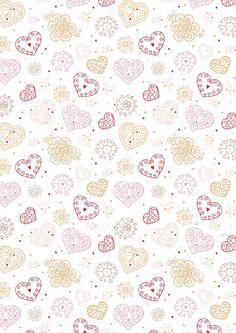 Valentine's Day Scrapbook Paper - Heart Stamp White