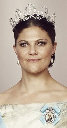13 June 2015 - Wedding of Prince Carl Philip and Sofia Hellqvist --  Close-up of Crown Princess Victoria from the sibling group photo. She is wearing the Connaught tiara for the very first time.