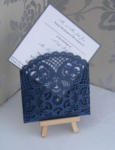 Lace Laser Cut Wedding invitation wallet