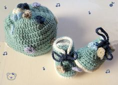 Playful Handmade Baby Crochet Hat and Shoe set with by NarimCrafts