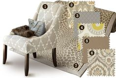 Contemporary: Keep a monochromatic color scheme interesting with great patterns that play well together and fabrics with tonal texture, like our Scandicci Gray. Fabric Rug, Pillow Fabric, Chair Fabric, Monochromatic Color Scheme, Living Room Redo, Indochine, Coordinating Fabrics, Ballard Designs, Fashion Room