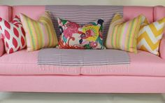 Jamie Meares | Furbish Studio | Pink Couch | Yellow, Pink & Multi Colored Accent Pillows