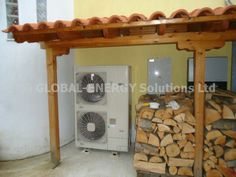 Heat pump for heat and hot water by Global-enegy solutions ltd Heat Pump, Pergola, Outdoor Structures, Hot, Water, Gripe Water, Heat Pump System, Outdoor Pergola