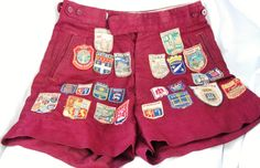 Vintage Hiking Shorts with sewn on Travel Badges - 24 vintage travel Badges - Burgundy wine Travel Badge Shorts by LuckSy on Etsy
