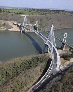 Curved Terenez Bridge France:
