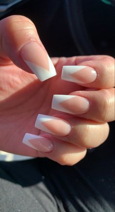 White Tip Acrylic Nails, Acrylic Nails Coffin Short, Square Acrylic Nails, Coffin Shape Nails, Summer Acrylic Nails, Cute Acrylic Nail Designs, Chic Nails, Stylish Nails, French Nails