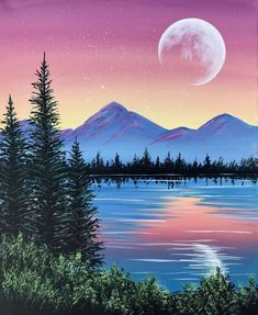 """Crafts Painting Paint Nite painting """"Peaceful Pine Lake"""" by artist Carmen Maciboric from White City, Saskatchewan, Canada Cute Canvas Paintings, Easy Canvas Painting, Simple Acrylic Paintings, Easy Nature Paintings, Easy Landscape Paintings, Canvas Painting Landscape, Bob Ross Paintings, Landscapes To Paint, Oil Paintings"""