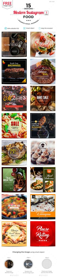 Food Instagram Templates - 15 Designs