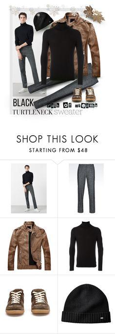 """Blact Turtleneck Sweater"" by giovanina-001 ❤ liked on Polyvore featuring MANGO MAN, Emporio Armani, Zanone, Maison Margiela, men's fashion and menswear"