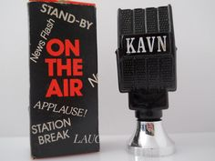 Avon Bottle Black Glass On The Air Microphone With Box by Replays, $11.00